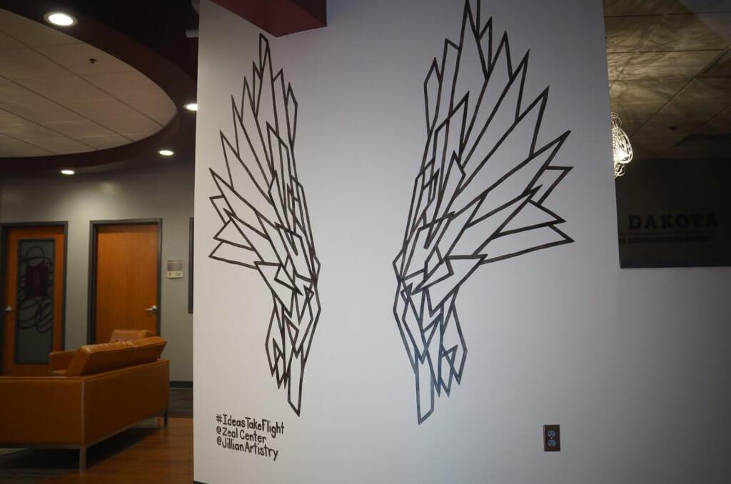 ideas take flight angel wing mural
